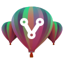 VAST Community Hub Icon: 3 balloons with a share symbol vertically